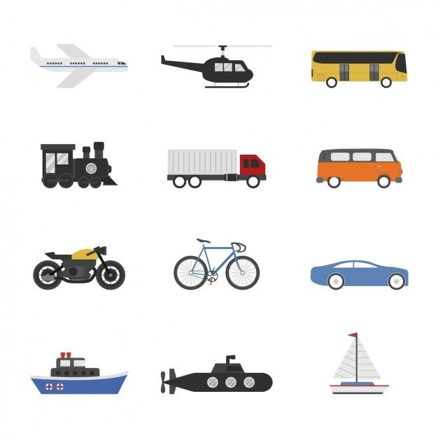 Transport manieren collectie Gratis Vector