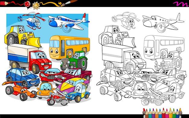transport voertuigen groep kleurplaat vector premium