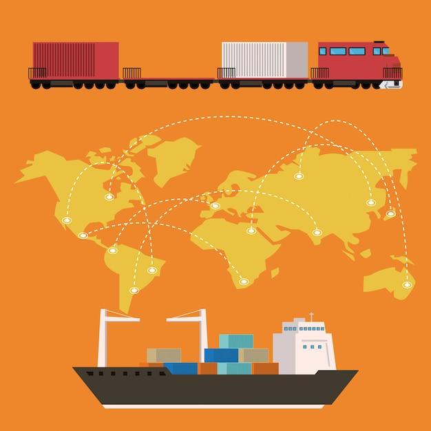 Transport vracht koopwaar logistieke cartoon Gratis Vector