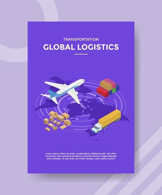 Transport wereldwijde logistiek flyer-sjabloon Gratis Vector