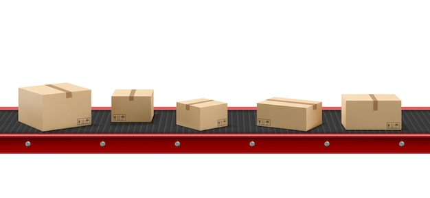 Transportband met kartonnen dozen in de fabriek Gratis Vector