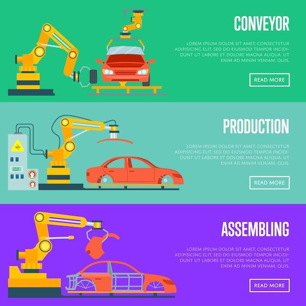 Transportband voor assemblage van auto'sconcept Premium Vector