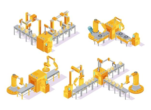 Transportbandsysteem met het isometrische ontwerpconcept van de computercontrole met inbegrip van productielijn en verpakking geïsoleerde vectorillustratie Gratis Vector