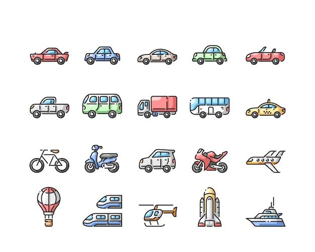 Transportlijn gekleurde pictogrammen instellen Premium Vector