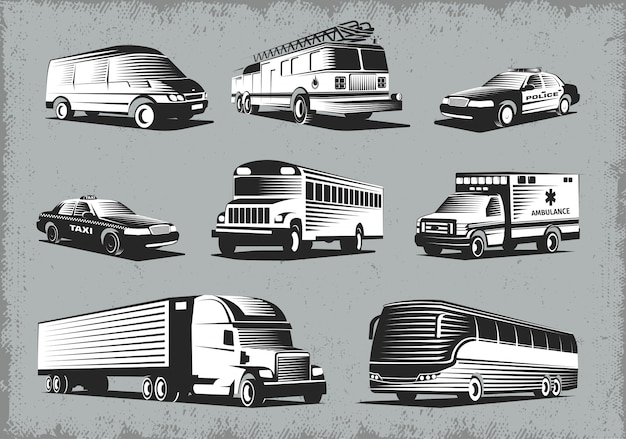 Transportset in retro stijl Gratis Vector