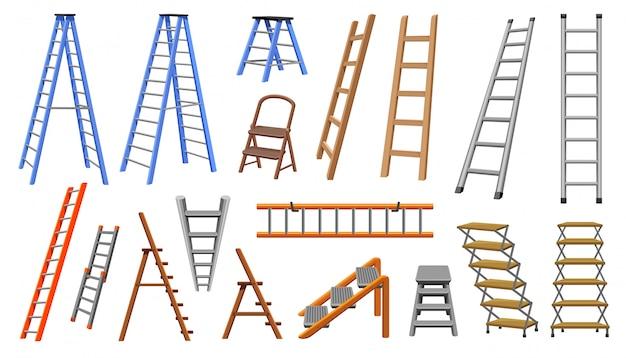 Trap cartoon ingesteld pictogram. illustratie trap op witte achtergrond. geïsoleerde cartoon ingesteld pictogram trap. Premium Vector