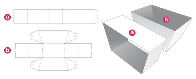 Trapeziumvormige schaal met gestanste deksjabloon Premium Vector
