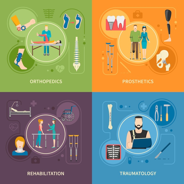 Traumatologie orthopedie 2x2 vlakke afbeeldingen Gratis Vector
