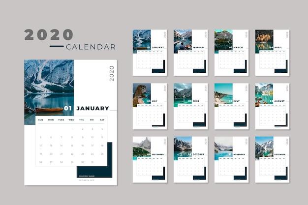 Travel 2020-kalendersjabloon Gratis Vector