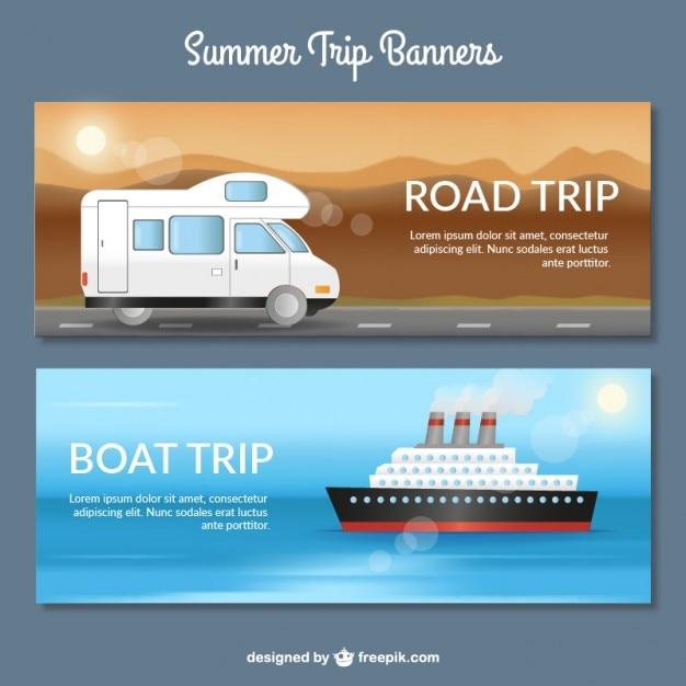 Travel banners met transporten Gratis Vector
