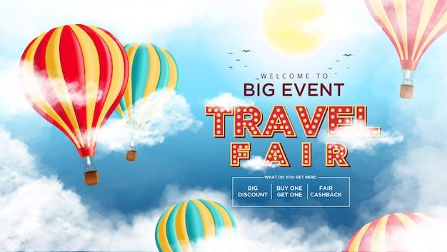 Travel fair background promotie-evenement Premium Vector