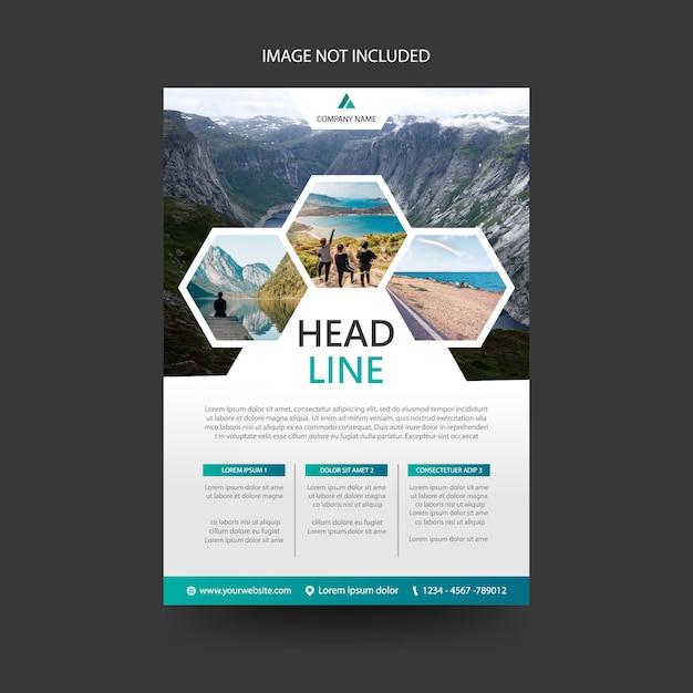 Travel flyer folder brochure voorbladsjabloon, zeshoek concept Premium Vector
