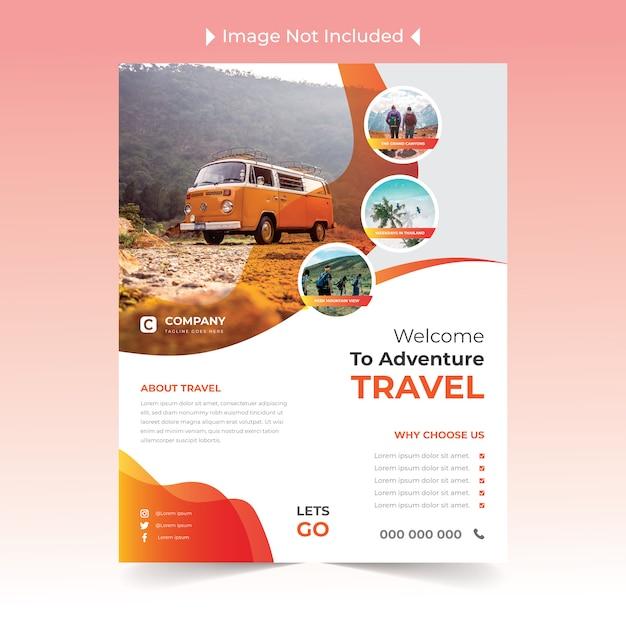Travel flyer-ontwerp met geel Premium Vector