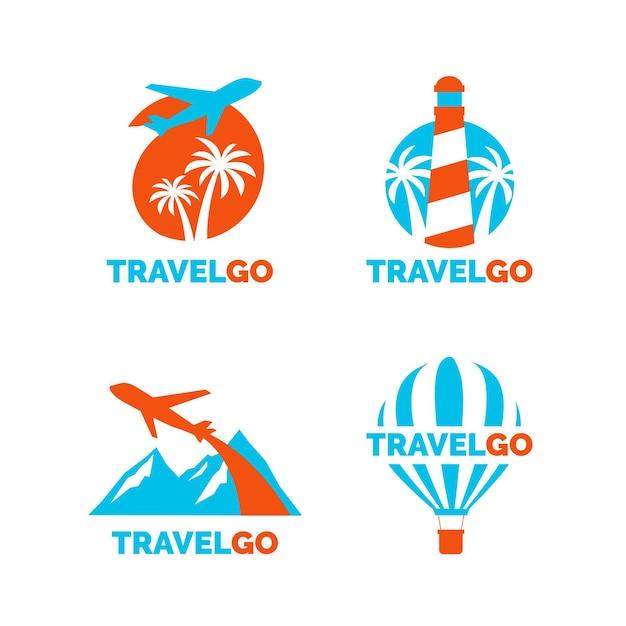 Travel logo templates-collectie Gratis Vector