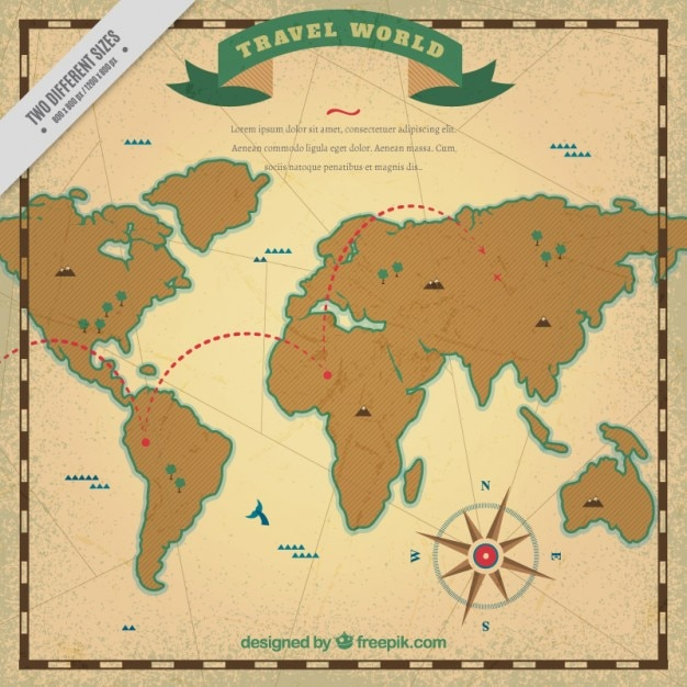Travel map in vintage stijl Gratis Vector