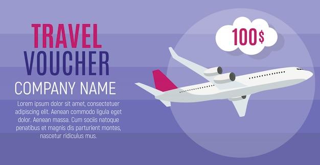 Travel voucher 100 dollar sjabloon achtergrond met vliegtuig. illustratie Premium Vector