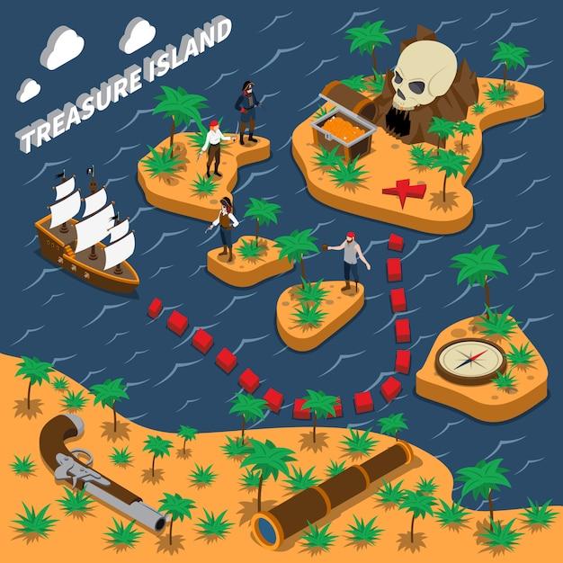 Treasure island isometrische samenstelling Gratis Vector