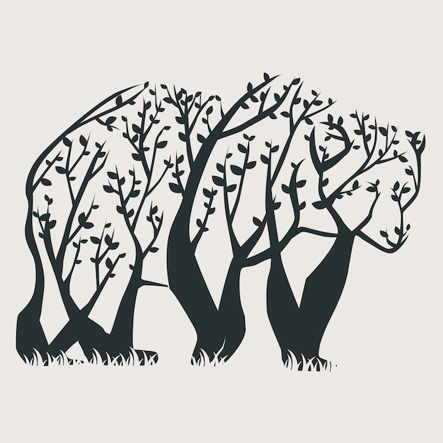 Tree bear Premium Vector