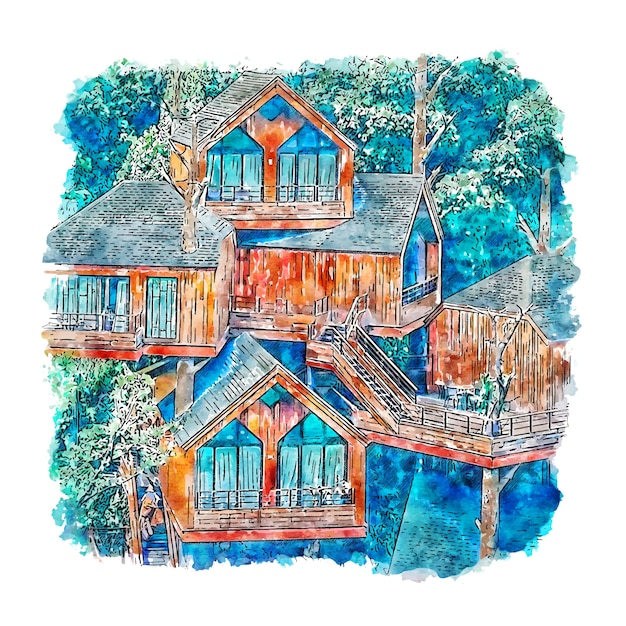 Treehouse china aquarel schets hand getrokken Premium Vector