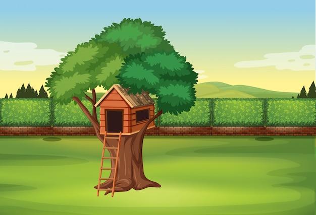 Treehouse in parkscène Gratis Vector
