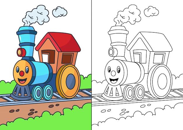 Trein cartoon kleurplaat Premium Vector