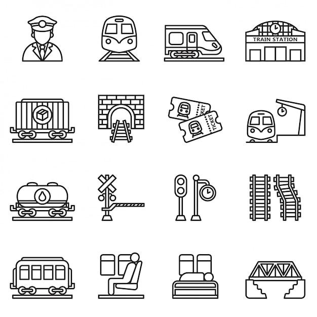 Trein en spoorwegen icon set. dunne lijnstijl voorraad vector. Premium Vector