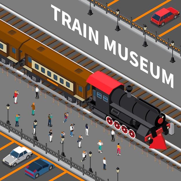 Trein museum isometrische samenstelling Gratis Vector
