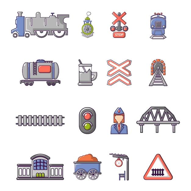 Trein spoorweg pictogrammen instellen Premium Vector