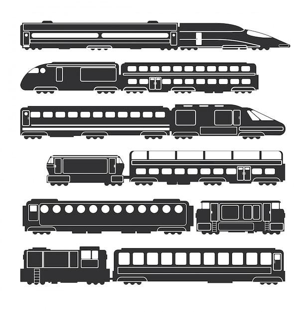 Treinen en van de wagens de zwarte vector van de spoorweglading en silhouetten van het passagiersvervoer Premium Vector