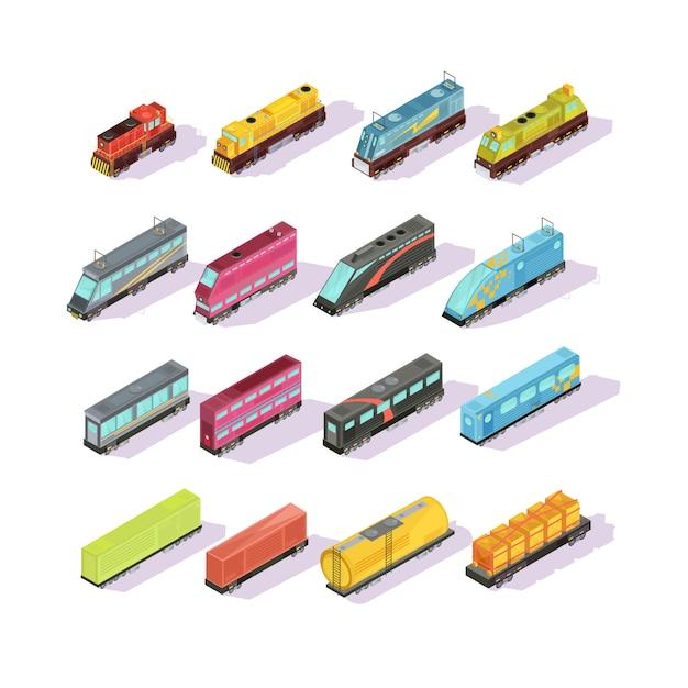 Treinen isometrische set van geïsoleerde kleurrijke locomotief goederenwagons en passagiers bank Gratis Vector