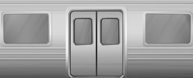Treinwagon met ramen en gesloten deuren Gratis Vector
