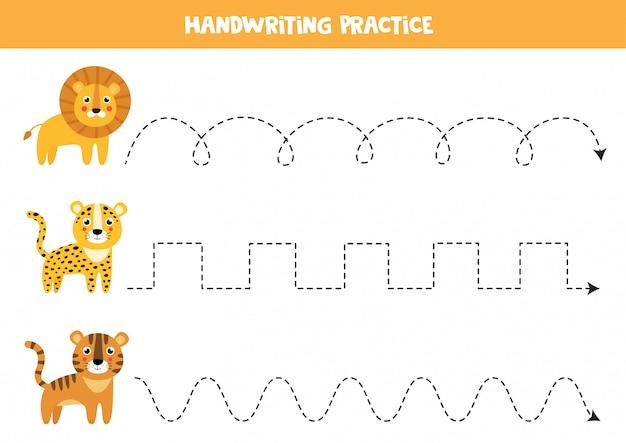 Trek de lijnen over met schattige wilde katten. handschriftoefening voor kinderen. Premium Vector