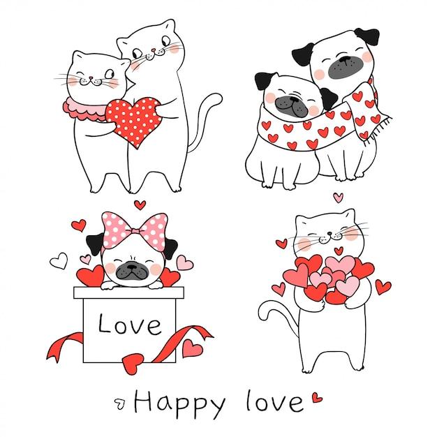 Trek kat en mops hond met klein hart voor valentijnskaartdag Premium Vector