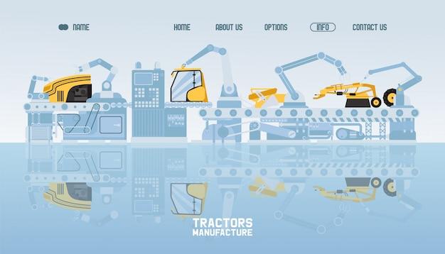 Trekker en combineer fabrikanten, vlakke afbeelding. productie industriële apparatuur. landbouwbedrijf, industrie. Premium Vector