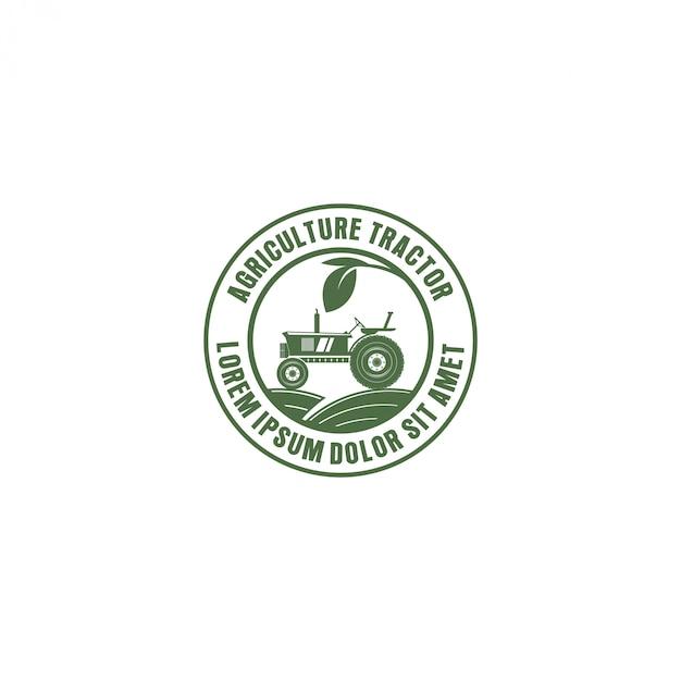 Trekker logo voor industriële landbouw, landbouw Premium Vector