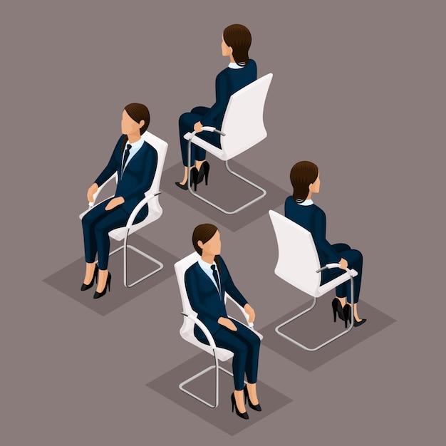 Trend isometrische mensen ingesteld, 3d-zakenvrouw in pak, zittend op een stoel, vooraanzicht en achteraanzicht geïsoleerd. vector illustratie Premium Vector