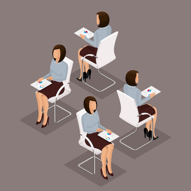 Trend isometrische mensen set, 3d-zakenvrouw werken met documenten, afbeeldingen, vooraanzicht, achteraanzicht, stijlvol kapsel, bril, kantoormedewerker man in een pak geïsoleerd Premium Vector