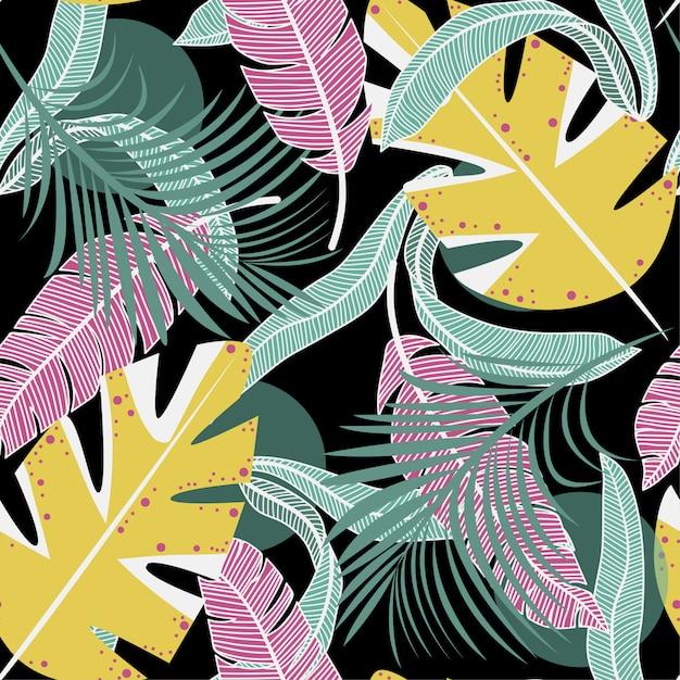 Trend naadloos patroon met kleurrijke tropische bladeren en planten Premium Vector