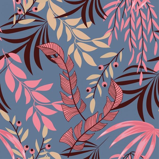 Trend naadloos tropisch patroon met heldere bladeren, bloemen en planten Premium Vector