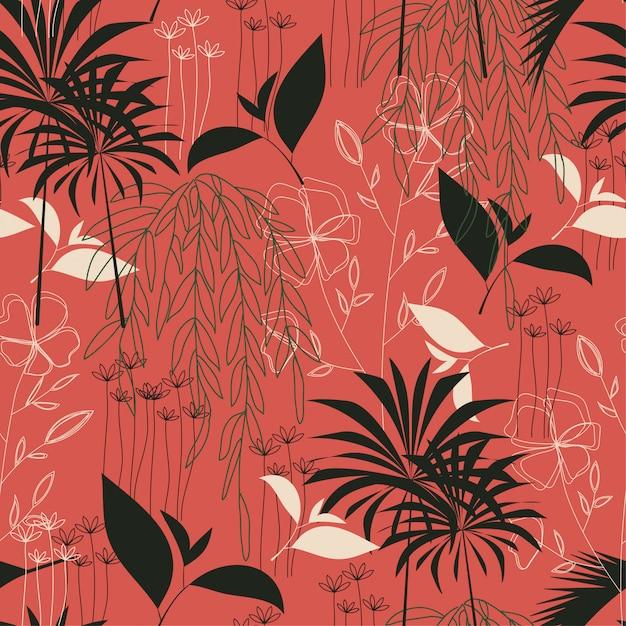 Trend naadloos tropisch patroon met heldere bladeren en planten Premium Vector