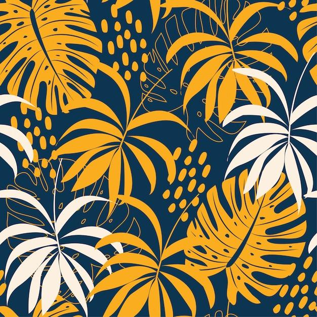 Trending abstract naadloos patroon met kleurrijke tropische bladeren en planten op blauw Premium Vector
