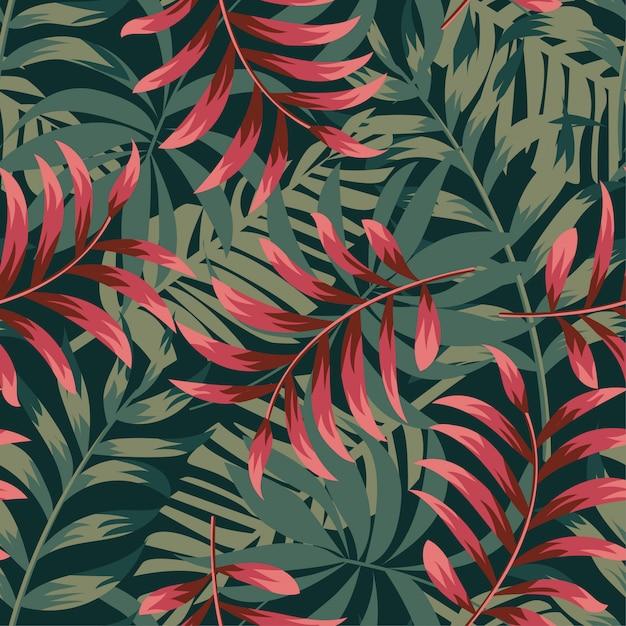 Trending abstract naadloos patroon met kleurrijke tropische bladeren en planten op groen Premium Vector