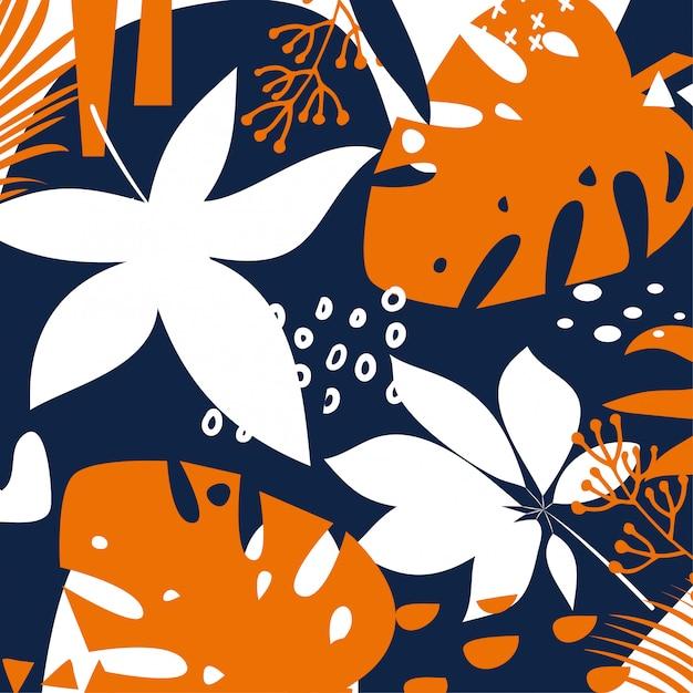 Trending heldere abstracte achtergrond met kleurrijke tropische bladeren en planten Premium Vector
