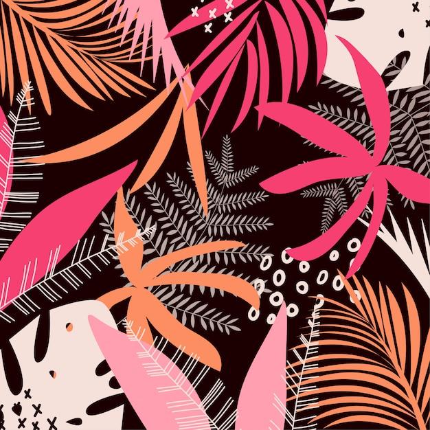 Trending heldere kleurrijke tropische bladeren en planten Premium Vector