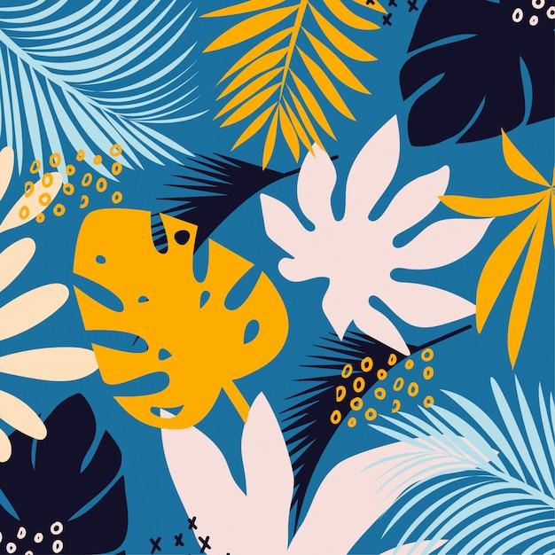 Trending heldere naadloze achtergrond met kleurrijke tropische bladeren en planten op lichte achtergrond Premium Vector