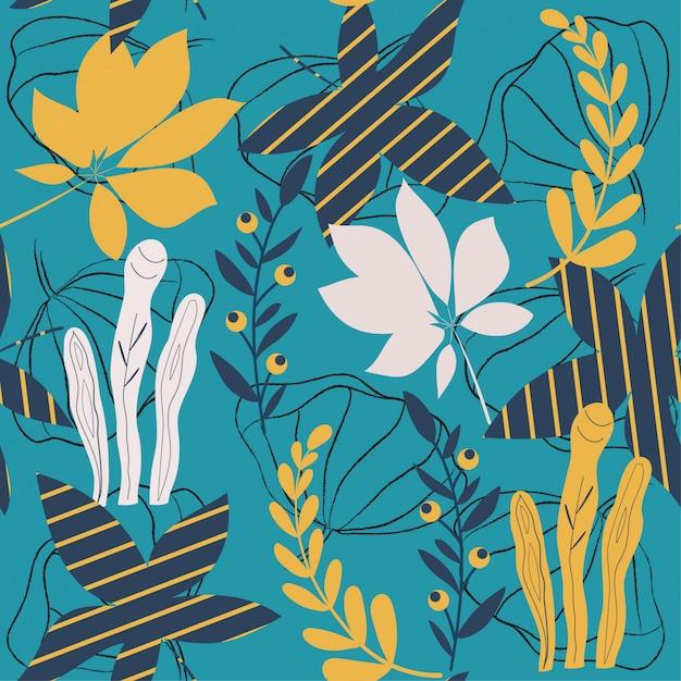Trending heldere naadloze patroon met kleurrijke tropische bladeren en planten op blauw Premium Vector