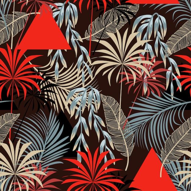 Trendy abstract naadloos patroon met kleurrijke tropische bladeren en bloemen Premium Vector