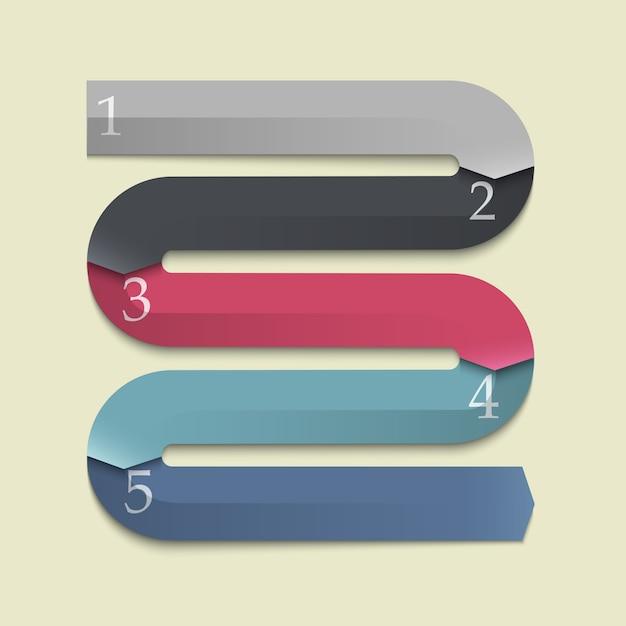 Trendy banners pijlen voor infographics Premium Vector