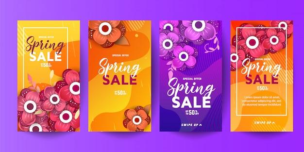 Trendy bewerkbare sjabloon lente en zomer verkoop decoratieve banners voor sociale netwerkenverhalen Premium Vector
