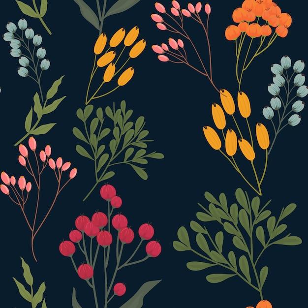 Trendy bloemen naadloos patroon Premium Vector